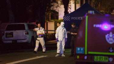 Police at the scene of the terrorism raid in Surry Hills