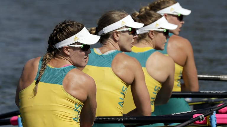 Jessica Hall, Kerry Hore, Jennifer Cleary, and Madeleine Edmunds, of Australia, look to shore after competing in their quadruple scull heat in Rio on Saturday.