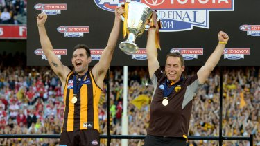 Luke Hodge and Alastair Clarkson in 2014.