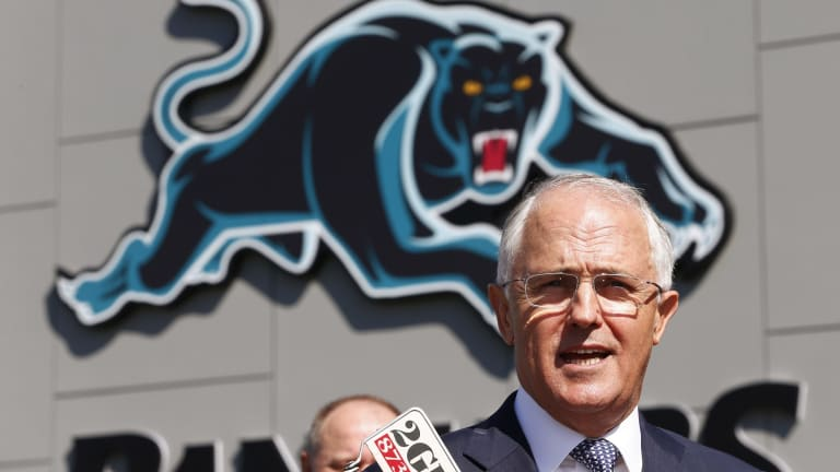 "Malcolm Turnbull, pictured at the new Penrith Panthers Rugby League Academy, described the tax plan as ""the most fundamental reform to the federation in generations""."