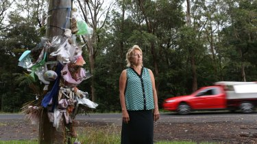 Lindy Hewett at the crash site where residents have been lobbying for road improvements.