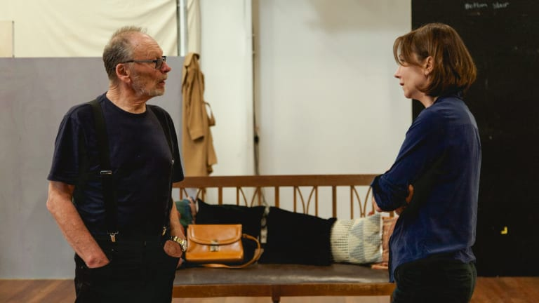 John Bell and Anita Hegh – here in rehearsal – negotiate a slippery script in 'The Father'.