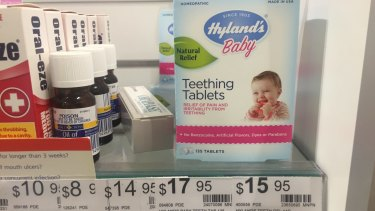 Hyland's homeopathic teething tablets on sale in Melbourne.