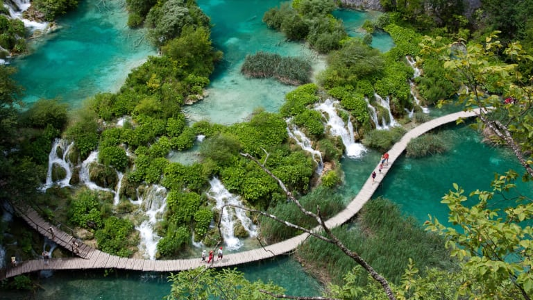 A fantasy land of lakes joined by waterfalls and ringed by hiking trails and forest, Plitvice Lakes National Park in Croatia had few tourists following the end of the Yugoslav Wars.