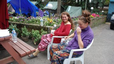 Recovering: Camille Thomas and Grace Graham at the Australian High Commission in Nepal.