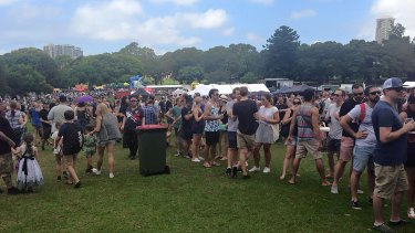 Long queues at Sydney Barbecue Festival at the Domain on Saturday.