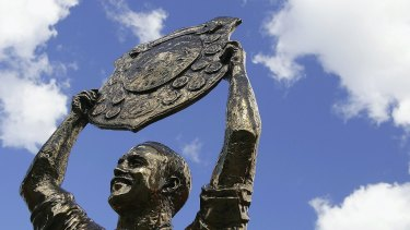 A statue of Wally Lewis which stands outside Sunsorp Stadium, or Lang Park as traditionalists call it.