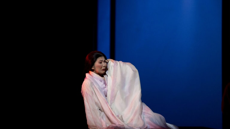 Hiromi Omura in the title role in Opera Australia's production of Puccini's <i>Madama Butterfly</i>.