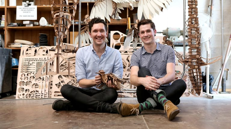 """Dead Puppet Society artistic director David Morton and executive producer Nicholas Paine with some of the puppet creations in the works for their upcoming production """"The Wider Earth""""."""