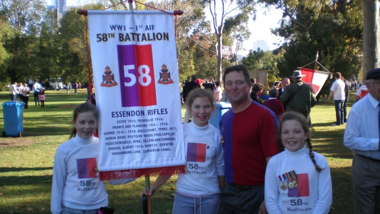 Hector Macdonald with three of his daughters, after the 2007 Anzac Day march.