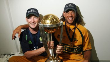 Happier times: Michael Clarke and Andrew Symonds with the World Cup trophy after the 2007 final in Barbados.
