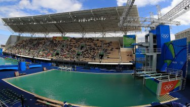 Not green with envy: The diving pool.