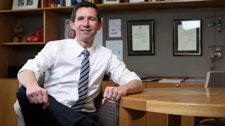 Simon Birmingham, Minister for Education and Training, at Parliament House in Canberra.