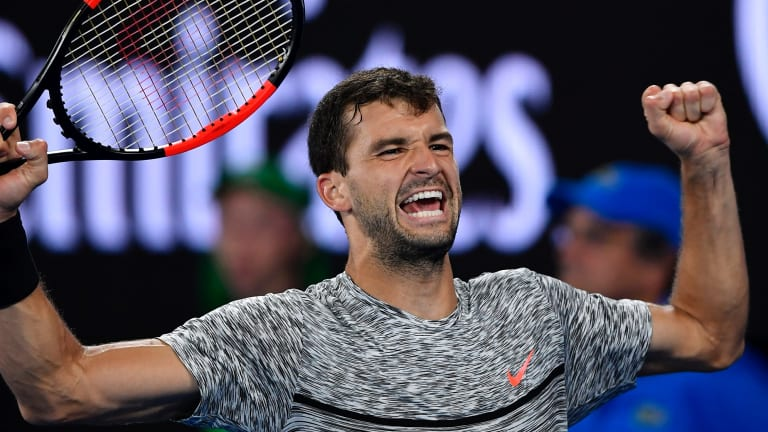 Cancel the alarm ... Bulgaria's Grigor Dimitrov celebrates after defeating France's Richard Gasquet during their third round match at the Australian Open tennis championships.