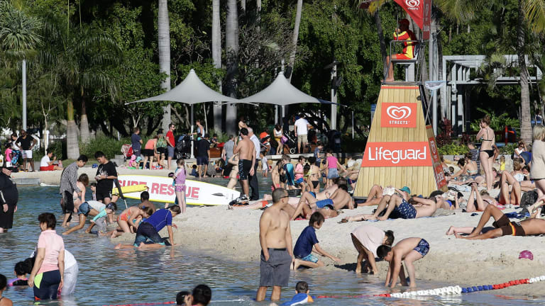 Crowds flocked to the Brisbane city beach and the surrounding parklands to escape the sweltering weather.