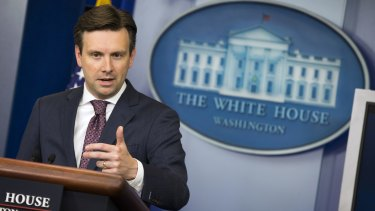 White House Press Secretary Josh Earnest speaks about the Chinese hack of the computer system of the Office of Personnel Management, Friday.