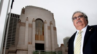 Former NSW RSL president Don Rowe at Sydney's Hyde Park war memorial.