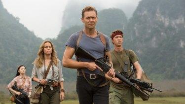 From left: Jing Tian as San, Brie Larson as Mason Weaver, Tom Hiddleston as James Conrad and Thomas Mann as Slivko in Kong: Skull Island.