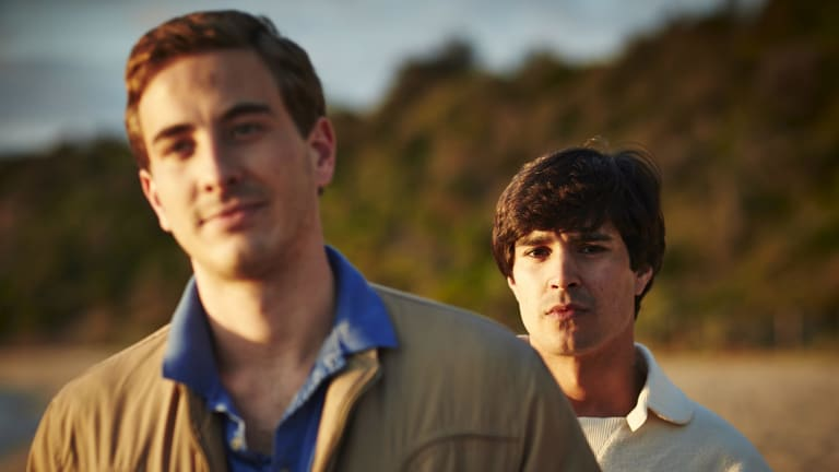 Turbulent times: Ryan Corr (left) and Craig Stott in <i>Holding The Man</i>.