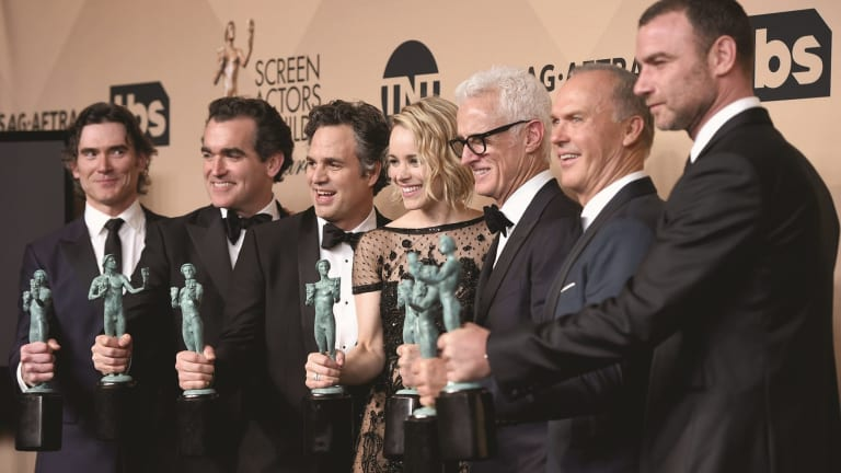 Billy Crudup, Brian d'arcy James, Mark Ruffalo, Rachel McAdams, John Slattery, Michael Keaton and Liev Schreiber with their awards for Outstanding Performance by a Cast in a Motion Picture for <i>Spotlight</i>.