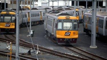 Fallen powerlines stranded Gold Coast rail passengers on Monday night.