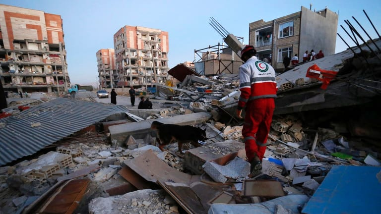 A Red Crescent rescue worker searches for survivors with his sniffing dog in Sarpol-e-Zahab in western Iran.