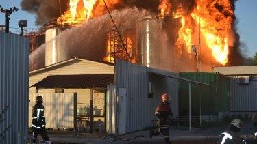 Ukrainian firemen tackle the blaze.