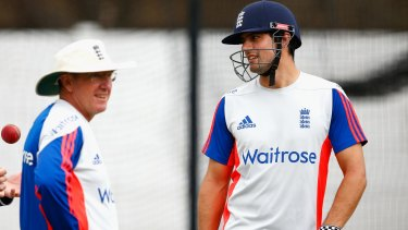 England coach Trevor Bayliss and captain Alastair Cook have a chat during a nets session in Durban on Friday.