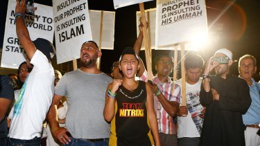 Freedom of speech: Sydney Muslims gather at a rally to show their support for the Prophet Muhammad.