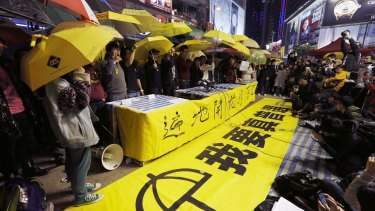 Pro-democracy protesters at a farewell rally in Hong Kong.