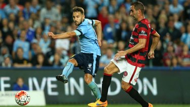 Another goal for Milos: Sydney FC's Milos Ninkovic scores against the Western Sydney Wanderers in October.