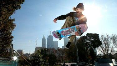Skateboarder Alex Waldmeyer at  Riverslide Skate Park in Melbourne.