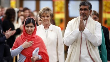 Nobel peace prize winners Malala Yousafzai and Kailash Satyarthi arrive at the ceremony.