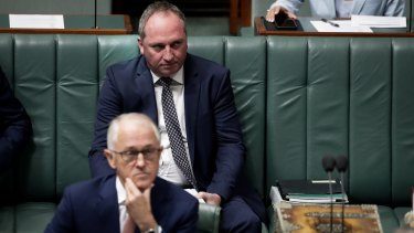 A glum Barnaby Joyce sits behind Malcolm Turnbull in Question  Time on Wednesday.