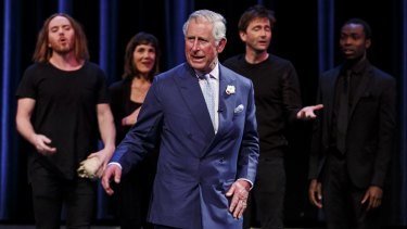 Prince Charles (centre) stole the show at Stratford-Upon-Avon as he performed alongside Tim Minchin, Harriet Walter, David Tennant and Paapa Essiedu in Shakespeare Live!.