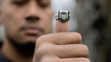 The big prize:Frank Puletua with the new premiership ring.