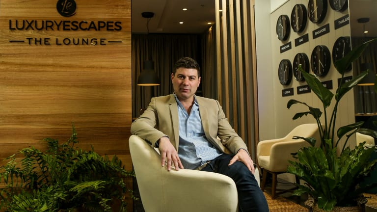 Adam Schwab, founder of Luxury Escapes, in Luxury Escape's pop up store in Melbourne.