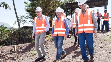 BHP Billiton Andrew Mackenzie, Vale CEO Murilo Ferreira and the CEO of Mining Samarco, Ricardo Vescovi, visit Mining Samarco's headquarters in Brazil after the dam collapse.