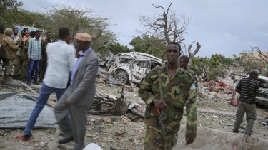 Security forces secure the scene of a suicide car bomb attack in Somalia's capital Mogadishu on Sunday.