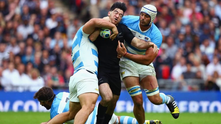 Dogged determination: Former Canterbury under-20s player Nehe Milner-Skudder hits the ball up for the All Blacks against Argentina at Wembley Stadium.