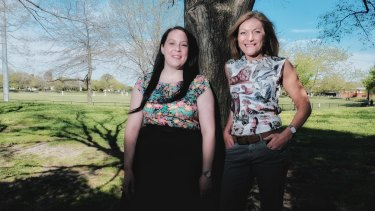 Reason Party leader Fiona Patten (right) with the party's candidate for Northcote, Laura Chipp.