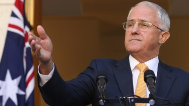 Prime Minister Malcolm Turnbull during a press conference at Parliament House in Canberra on Monday.
