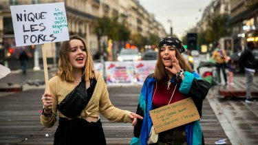 Women protest against gender-based and sexual violence in Paris last year.