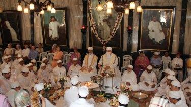 Parsi priests perform the Jashan (thanksgiving) ceremony in Mumbai.