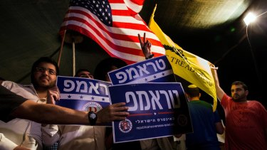 Israeli supporters of Donald Trump hold a rally in Jerusalem in October.