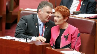 Rodney Culleton and One Nation leader Pauline Hanson in parliament in November.