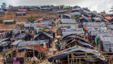 Newly set up tents cover a hill at a refugee camp for Rohingya Muslims in Taiy Khali, Bangladesh.