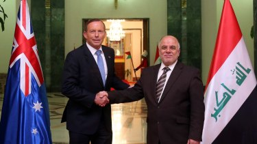 Prime Minister Tony Abbott and his Iraqi counterpart Haider al-Abardi.