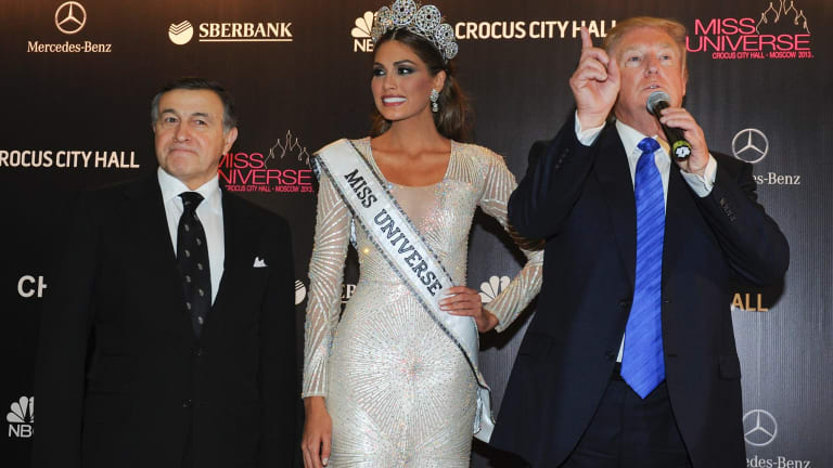 Russian businessman Aras Agalarov, left, with Miss Universe Gabriela Isler and Donald Trump in Moscow in November 2013.