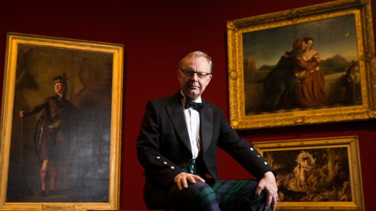 Michael Clarke, Director of the Scottish National Gallery, wearing the National Galleries of Scotland tartan. An exhibition of Scottish masterpieces goes on show at the Art Gallery of NSW from Saturday 24 October.